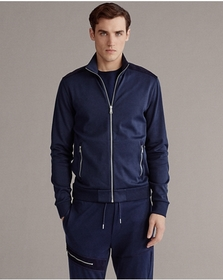 Ralph Lauren Suede-Trim Cotton Track Jacket