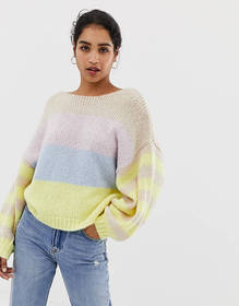Vila color block stripe balloon sleeve sweater