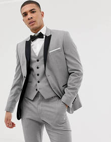 Selected Homme slim suit jacket with peaked satin