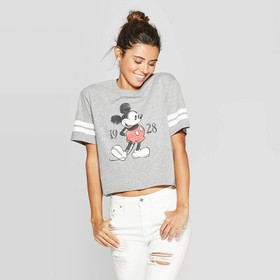 Women's Disney Mickey Mouse Short Sleeve Cropped T