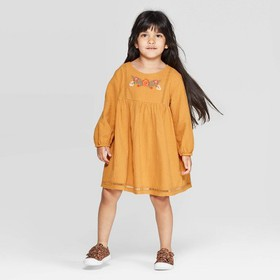 Toddler Girls' Long Sleeve Embroidered Dress - art