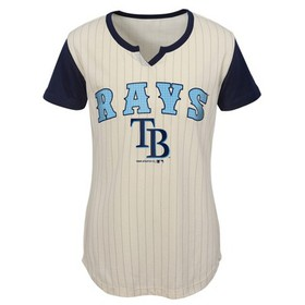 MLB Tampa Bay Rays Girls' In the Game Cream Pinstr