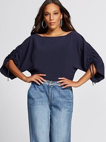 Navy Ruched Tie-Sleeve Blouse - Gabrielle Union Co