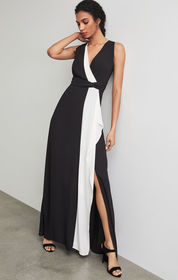 BCBG Colorblocked Draped Ruffle Gown