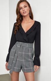 BCBG Houndstooth Pleated Short