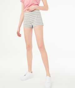 Aeropostale Striped Fuzzy Lace-Up Shorts