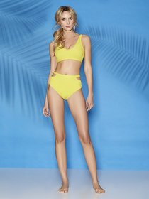 Nikki Cutout High-Waist Bikini Bottom - Sweet Pea