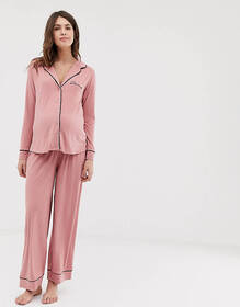 ASOS DESIGN Maternity traditional pyjama pants set