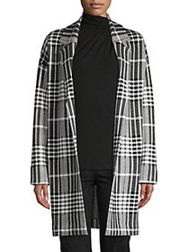 T Tahari Jacquard Plaid Open-Front Coatigan BLACK