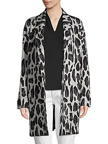 T Tahari Animal-Printed Jacquard Sweater Coat GREY