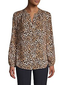 T Tahari Leopard-Print Splitneck Ruched-Sleeve Top