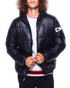 DKNY quilted logo hooded puffer jacket