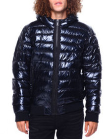 DKNY pearlized hooded puffer bomber