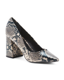 CHARLES BY CHARLES DAVID Snake Print Pointy Toe Bl