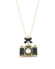 BETSEY JOHNSON Gold Plated Camera Pendant Necklace