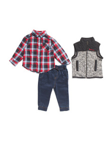 BEN SHERMAN Infant Boys 3pc Top Vest And Joggers S