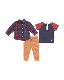 BEN SHERMAN Infant Boys 3pc Shirt And Jogger Set