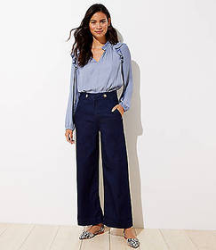Button Tab Wide Leg Crop Jeans in Saturated Rinse