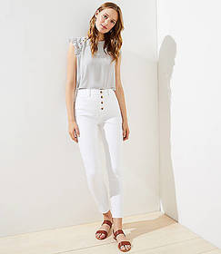 Petite High Rise Slim Pocket Skinny Jeans in White