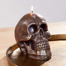 Crate Barrel Metallic Black Skull Candle