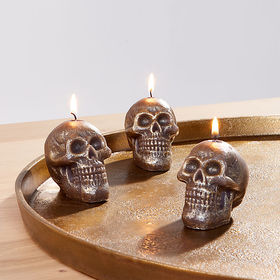 Crate Barrel Metallic Black Skull Tealight Candles