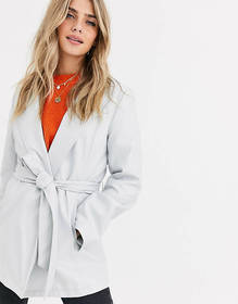 ASOS DESIGN leather look belted jacket in gray