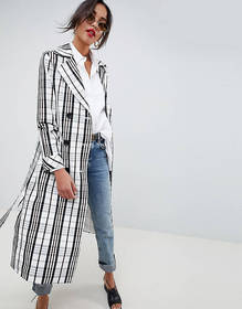 ASOS DESIGN mac with mono check