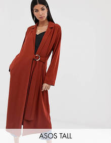 ASOS DESIGN Tall duster coat with faux shell trim