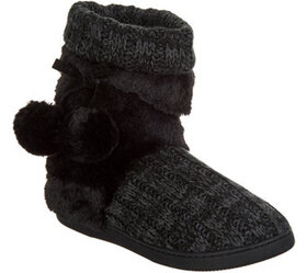 MUK LUKS Michelle Knit Slipper Boot with Faux Fur
