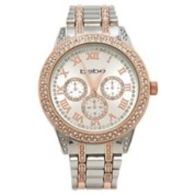 BEBE Womens Crystal Chronograph Two-Tone Bracelet