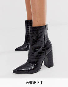 London Rebel wide fit pointed block heeled boot in
