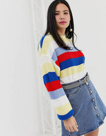 Monki color block stripe sweater