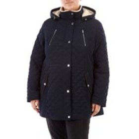 LAUNDRY WHITE Plus Size Quilted Coat with Sherpa L