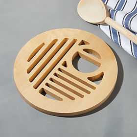 Crate Barrel Birch Wood Trivet