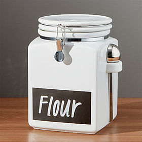 Crate Barrel Large Clamp Canister with Chalkboard