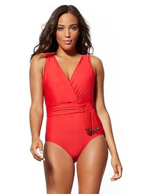 Beaded Fringe-Trim Wrap One-Piece Swimsuit - NY&C