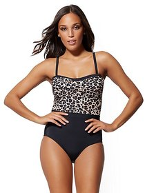 Convertible Leopard-Print Colorblock One-Piece Swi