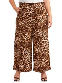 Goddess Women's Plus Size Wide Leg Pant with Belt