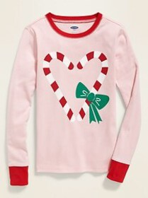 Graphic Pajama Top For Girls