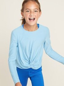 Relaxed Go-Dry Knotted-Hem Top for Girls