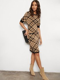 Camel Button-Accent Sweater Sheath Dress - 7th Ave
