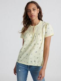 Lucky Brand Lace Trim Printed Henley