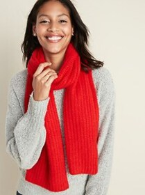 Soft-Brushed Shaker-Stitch Scarf for Women