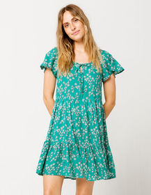 PATRONS OF PEACE Floral Teal Green Dress_
