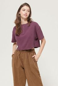 UO Nikki Thermal Cropped Henley Tee