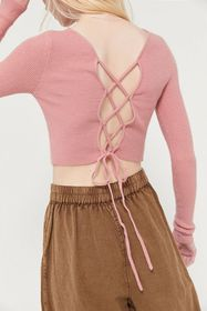 UO Rome Tie-Back Cropped Sweater