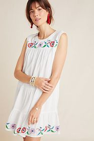 Anthropologie Colina Embroidered Swing Dress