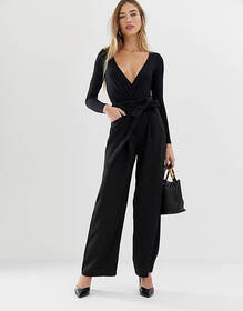 Warehouse wide leg pants in black