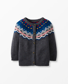 Hanna Andersson Fair Isle Cardigan in Flecked Dark