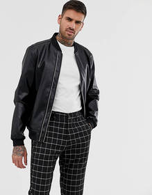 ASOS DESIGN faux leather bomber jacket with dual z